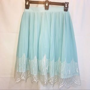 Torrid Blue Pleated Lace Detail Skirt